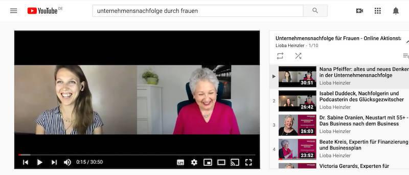 Unternehmensnachfolge durch Frauen-Youtube